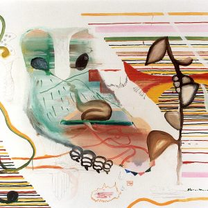 Centrala nervsystemet typ....uggla, Oil and acrylic on canvas, 170x190cm, 2001