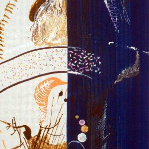 Pastellprickar och en massa blått, Ink and laquer pen on board, 68x57cm, 2001