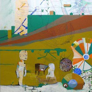 Plugga lönar sig, 2006. Acrylic and pen on canvas, 220x195 cm.