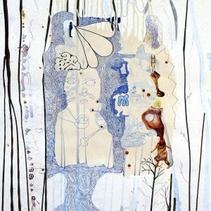 Rödräv och hundben, 2004. Mixed media on paper, 120x90 cm.