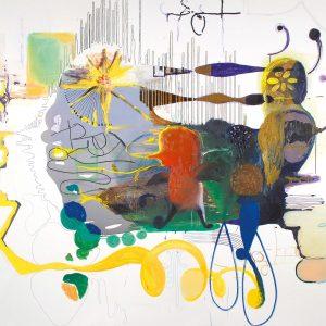 Småfåglar och diverse andra typer, Oil, acrylic and ink on canvas, 195x220cm, 2003